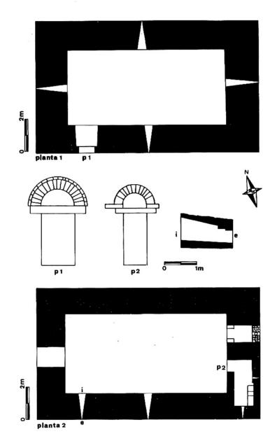 Planimetrías. Plantas 1 y 2 de la torre