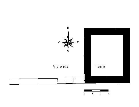 Planta: torre y fachada