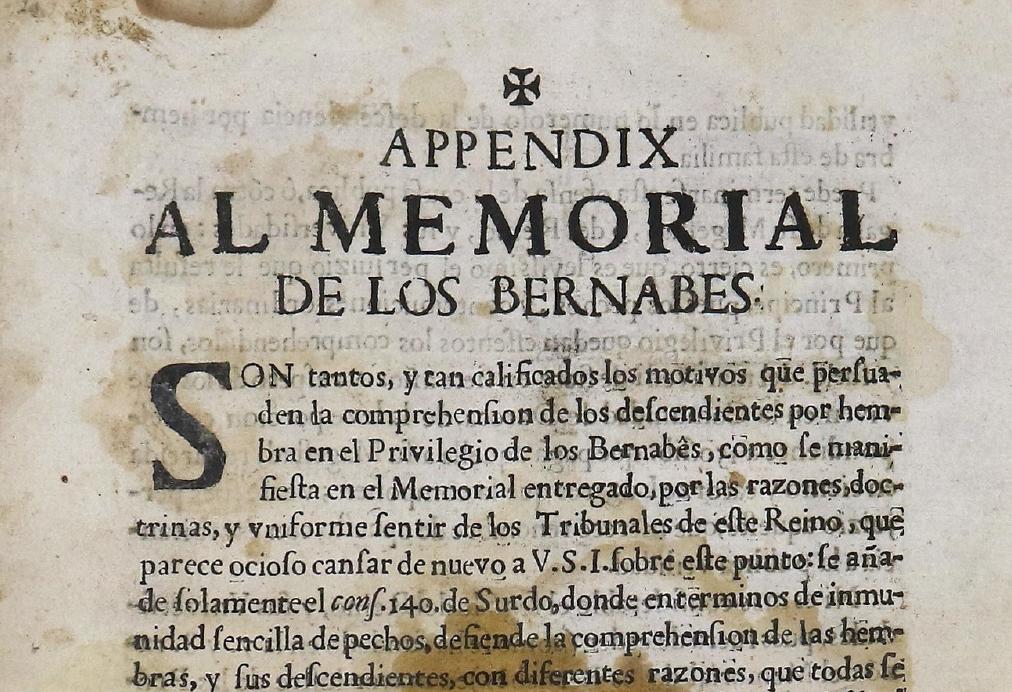 Memorial de 1673 sobre los privilegios de los Bernabé