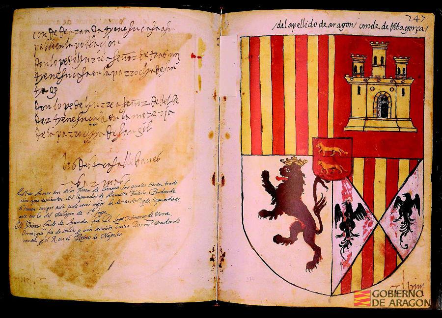 Armas de los Gurrea y Aragón, condes de Ribagorza, en el Armorial de Aragón (1536). AHPZ