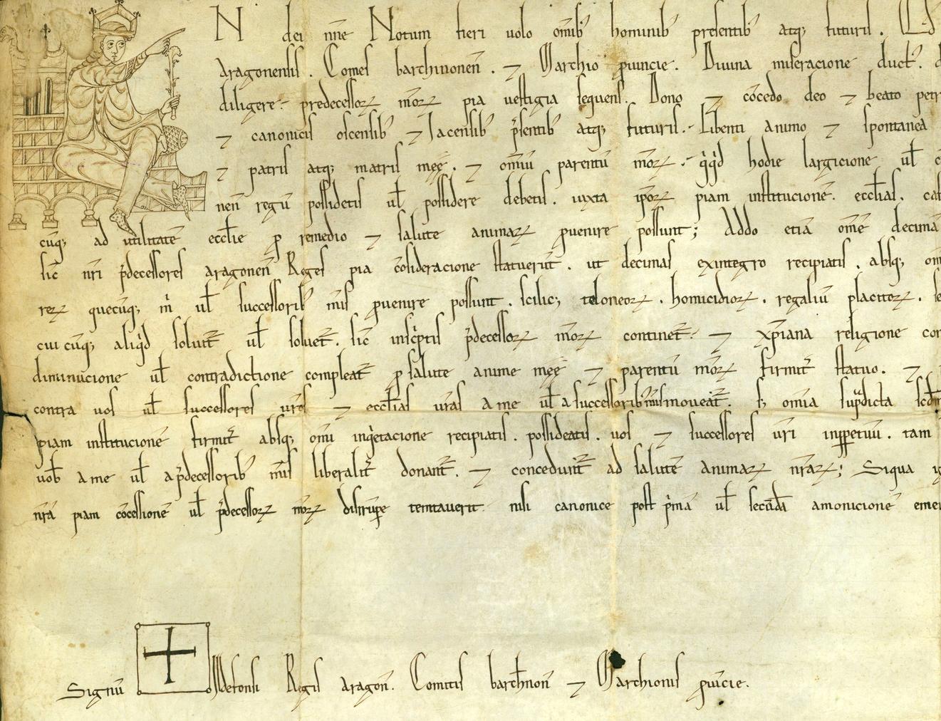 Confirmación de privilegios a la catedral de Huesca por el rey Alfonso II (1174). Archivo Cabildo Catedral de Huesca