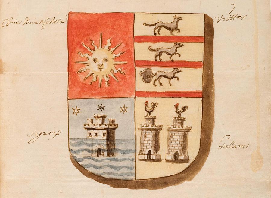 Escudo familiar de la religiosa Dionisia de Urriés y Ruiz de Castillo. Archivo Histórico Provincial de Huesca