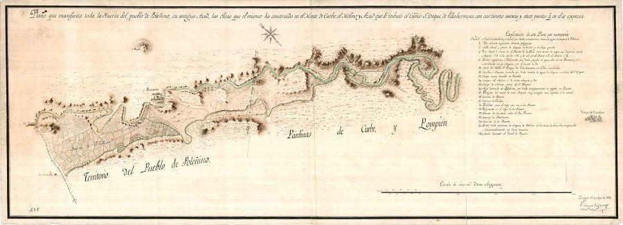 Plano de la huerta de Poleñino y sus obras hidráulicas, por el arquitecto Tiburcio del Caso (1818). AHPZ