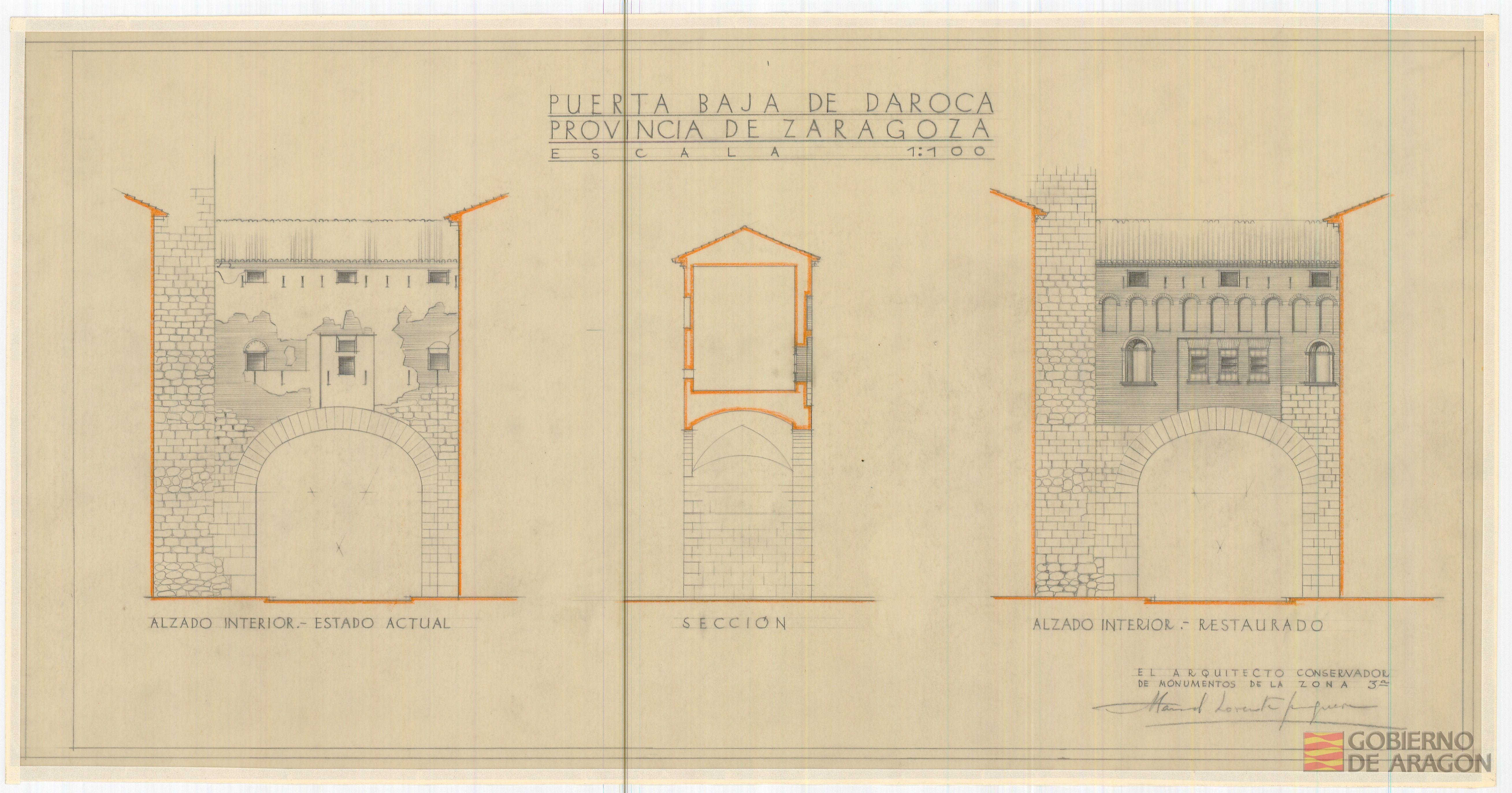 El antes y después de la Puerta Baja de Daroca según el proyecto de restauración de Manuel Lorente. AHPZ