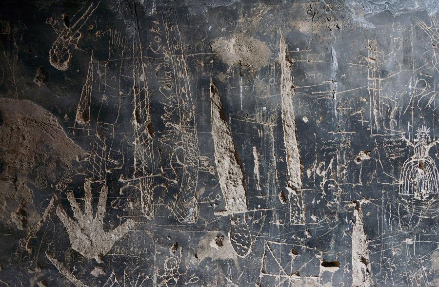 Graffiti en la cárcel de Mazaleón. Foto: Comarca del Matarraña