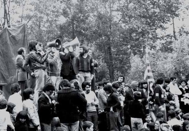 Mitin con motivo de la legalización del partido comunista. 1977
