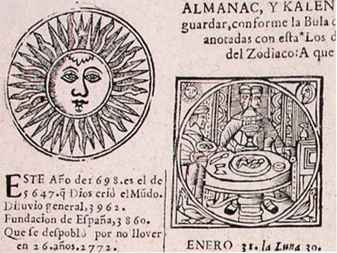 Astrología popular. Almanaque y pronóstico zaragozano de 1698. Archivo Histórico Provincial de Huesca