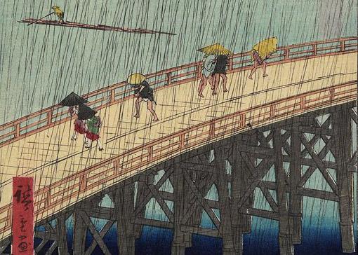 El puente Ohashi en Atake bajo una lluvia repentina, Utagawa Hiroshige. Museo de Zaragoza. Foto: J. Garrido