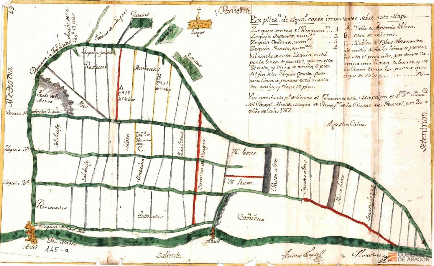 Mapa del término del lugar de Alba desde el río Madre hasta la Acequia Gorda (1762). AHPZ