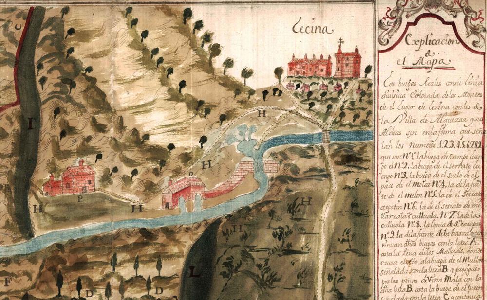 Plano ilustrativo de un pleito sobre límites entre las localidades de Lecina y Alquézar en 1727. AHPZ