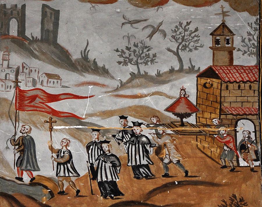 Ritual contra las tormentas. Pintura del siglo XVIII en la iglesia de la Virgen de la Carrasca de Bordón. Foto: Archivo Comarcal del Maestrazgo